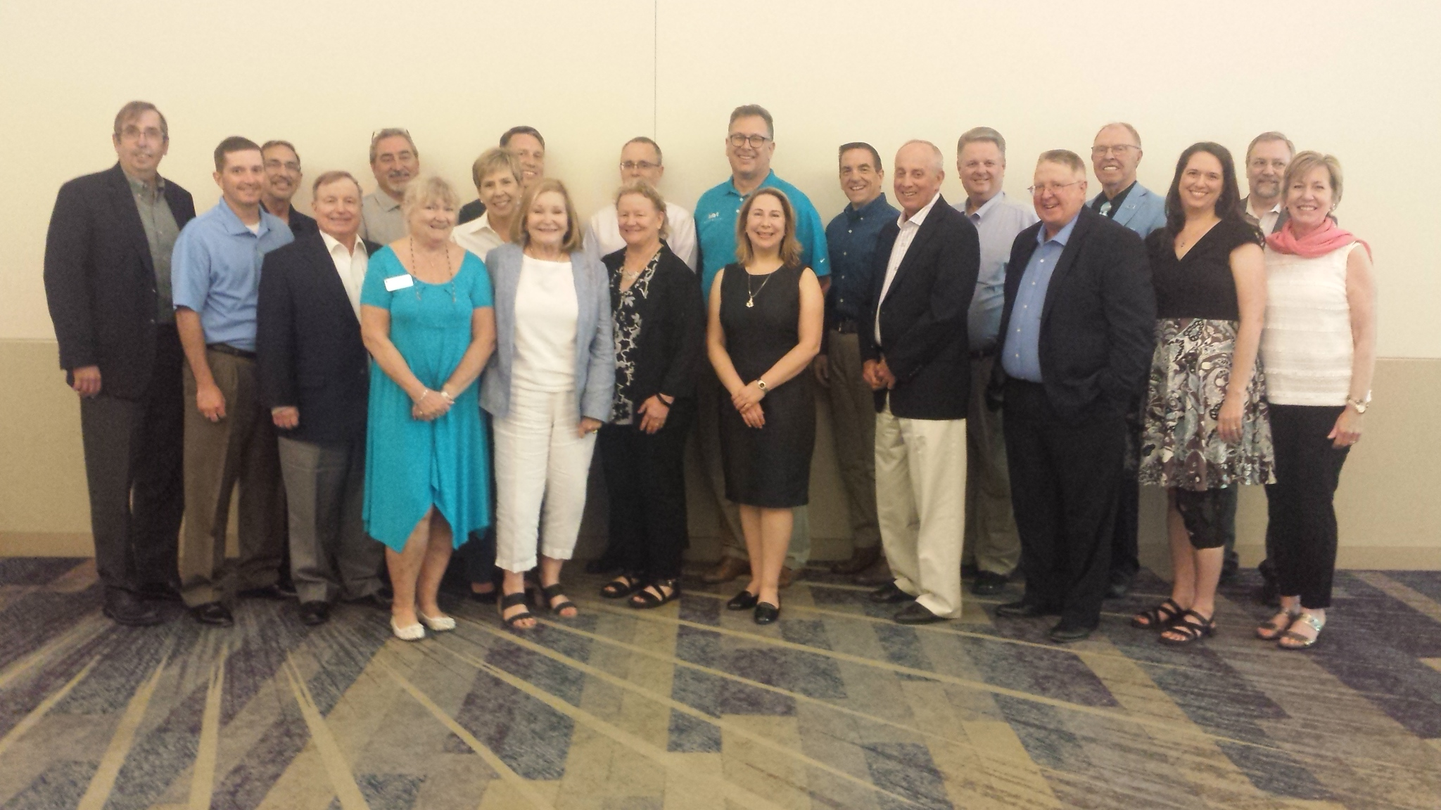 2018 ASFPM Foundation Executive Board of Trustees L-R: Don Mcvoy, Jeff Sparrow, Vince Dicamillo, Bo Temple, Joe Bruno, Diane Brown, Ann Terranova, Tim Hillier, JoAnn Howard, Ceil Strauss, Jerry Sparks, Sam Medlock, Doug Plasencia, Matt Koch, Brad Anderson, Marko Bourne, Dale Lehman, Larry Larson, Elise Ibendahl, Mark Forest and Molly O'Toole. Photo by Michele Mihalovich.